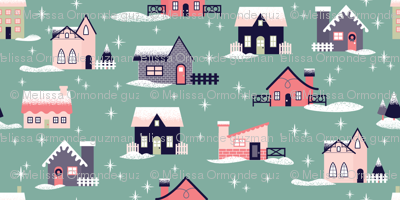 Teal Christmas Houses