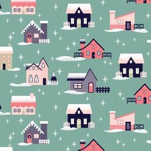 Teal Christmas Houses