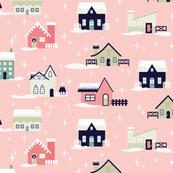 Light Pink Christmas Houses
