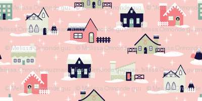 Light Pink Christmas Houses