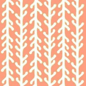 White & Green Kelp Ribbon Stripe on Orange
