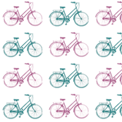 Pink & Teal Antique Bikes