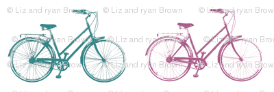 Retro Bicycles // Teal & Pink