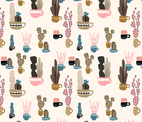 Cacti In Mugs fabric by ash_sta__teresa on Spoonflower - custom fabric