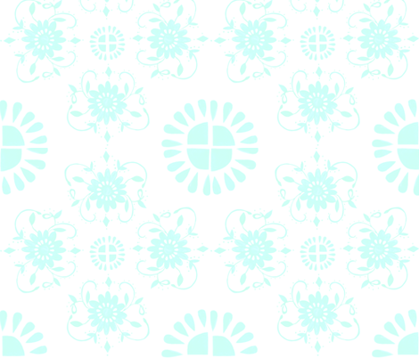 Floral_medaliions_aqua_blue fabric by jennifer_rizzo on Spoonflower - custom fabric