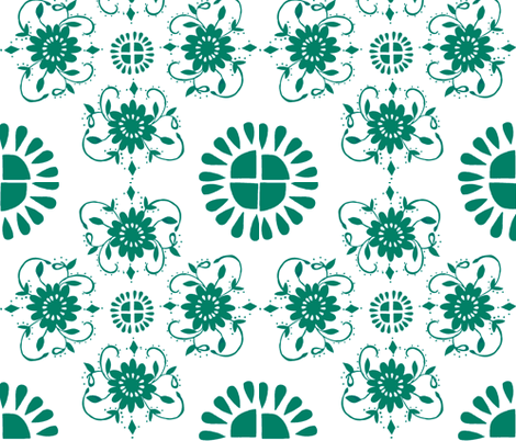 Floral_medaliions_dark_aqua-green fabric by jennifer_rizzo on Spoonflower - custom fabric