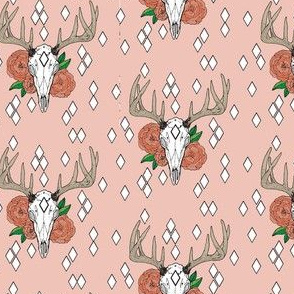 Whitetail Deer & Peony with Geometrics