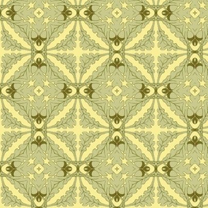 Gothic Floral in Green and Yellow