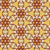 Yellow and Rust Geometric Floral