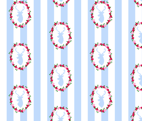 Stag Wreath fabric by thepixelpinup on Spoonflower - custom fabric