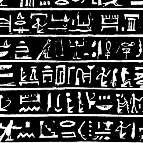 Hieroglyphics on Black // Small fabric by thinlinetextiles on Spoonflower - custom fabric