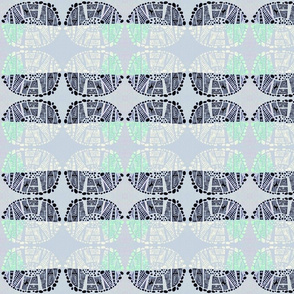 gray green black lino cut