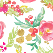 Winter Floral in Pinks with Metallic Gold
