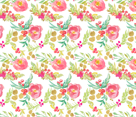 Winter Floral in Pinks with Metallic Gold fabric by sarahschaitkin on Spoonflower - custom fabric