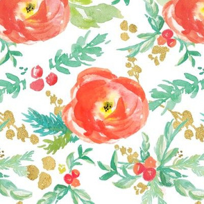 Winter Floral in Reds with Holly and Metallic Gold