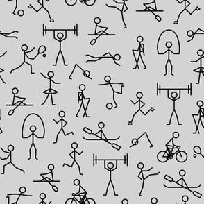 Sporty Stickman on Grey