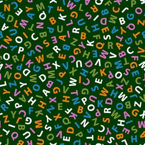 ditsy alphabet on forest green