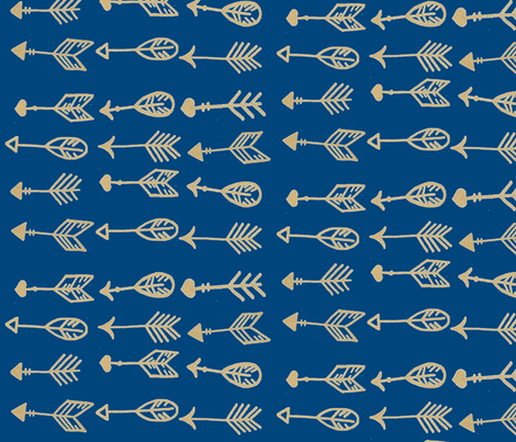 navy golden arrows fabric by angiehiller on Spoonflower - custom fabric