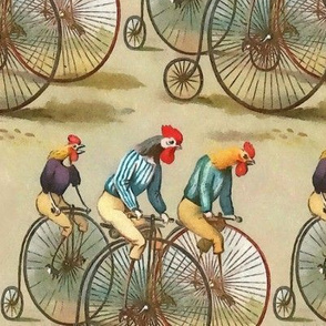 Vintage Cycling Roosters