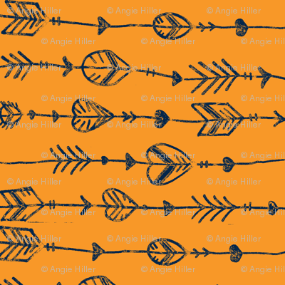 orange and navy arrow doodle