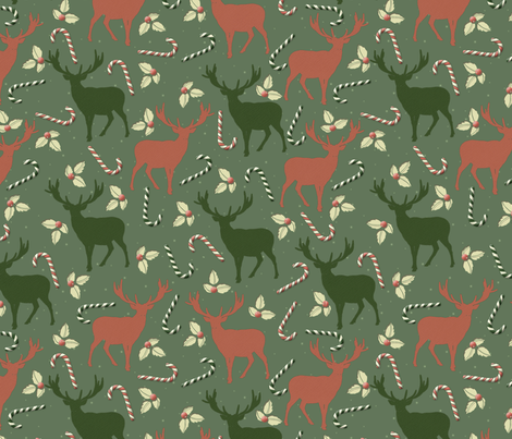 Oh deer, it's Christmas! fabric by titan_design_&_technology on Spoonflower - custom fabric