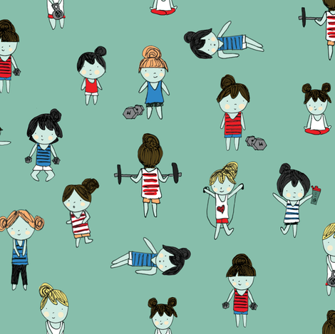 Workout Like a Girl fabric by marzipress on Spoonflower - custom fabric