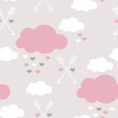 Sweet soft little indian baby dream sleepy night clouds love hearts and indian arrows scandinavian pastel illustration pattern in pink