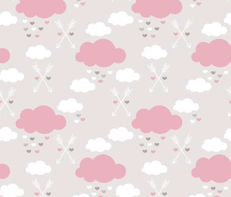 Sweet soft little indian baby dream sleepy night clouds love hearts and indian arrows scandinavian pastel illustration pattern in pink fabric by littlesmilemakers on Spoonflower - custom fabric