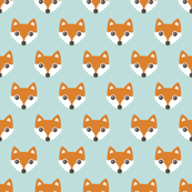 Colorful retro foxes fun kids illustration woodland theme soft pastel mint orange