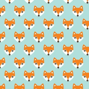 Colorful retro foxes fun kids illustration woodland theme soft pastel mint orange