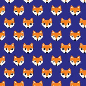 Colorful retro foxes fun kids illustration woodland theme blue orange