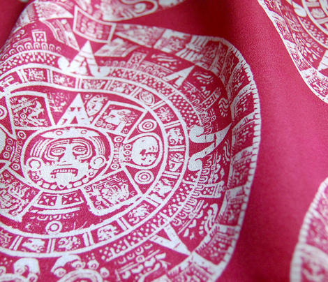 "Aztec Calendar on Maroon - Small (2.5"")"