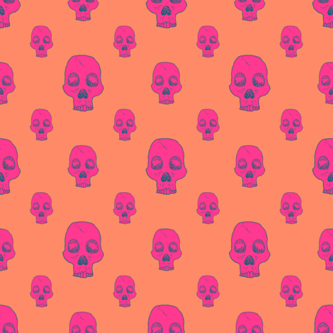 Neon Skull Fill fabric by seesawboomerang on Spoonflower - custom fabric