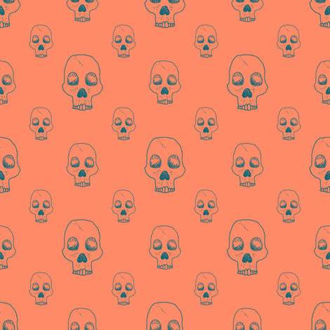 Neon Skull Outline fabric by seesawboomerang on Spoonflower - custom fabric