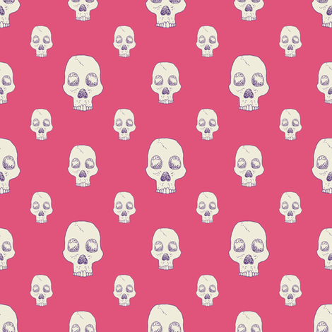 Lovely Pink Skull Fill fabric by seesawboomerang on Spoonflower - custom fabric
