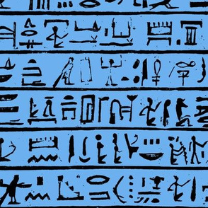 Egyptian Hieroglyphics on Blue // Small