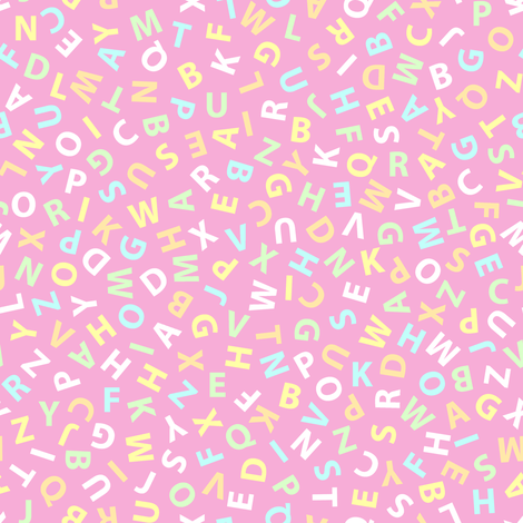 ditsy alphabet on pink fabric by weavingmajor on Spoonflower - custom fabric