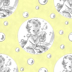 Baby Bath Over Yellow