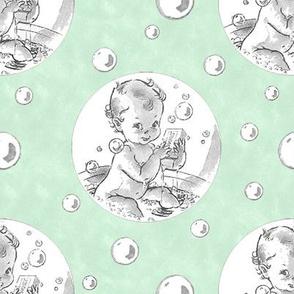 Baby Bath Over Green