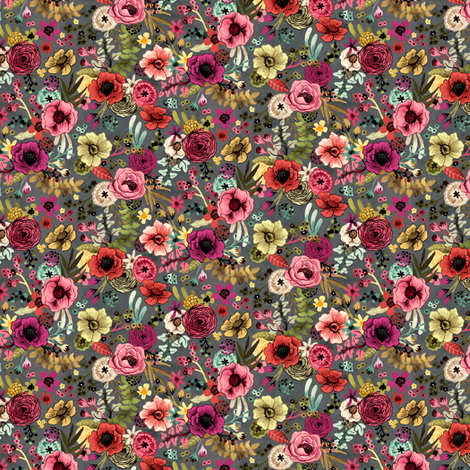 Dramatic Hand Painted Floral Small Scale by Angel Gerardo fabric by angelger28 on Spoonflower - custom fabric