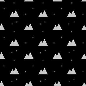 Mountains and snowflakes black