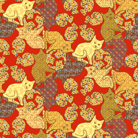 Calico Cat Curls fabric by eclectic_house on Spoonflower - custom fabric