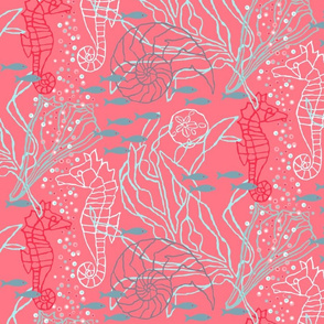 Pinky Seahorse Design with Kelp & Seashells