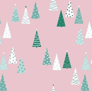 The pink Christmas forest