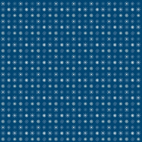 Snowflakes Grid on Blue