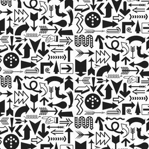 Any Direction (Black on White) || arrow compass map symbol north south east west up down arrowhead typography