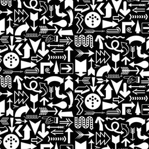 Any Direction (White on Black) || arrow compass map symbol north south east west up down arrowhead typography