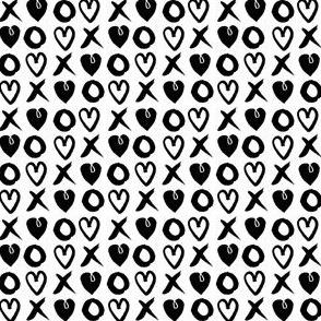 valentines xoxo // hearts xoxo black and white mini valentines print