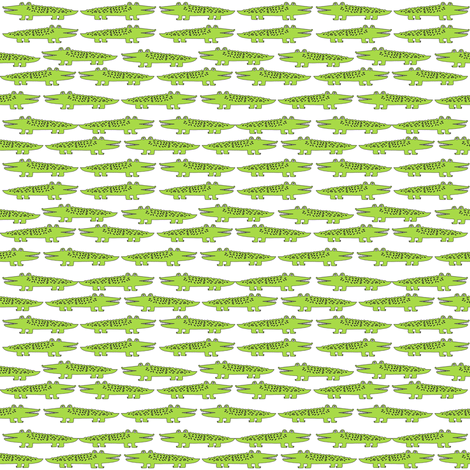 gator // lime green mini alligator crocodile florida print fabric by andrea_lauren on Spoonflower - custom fabric