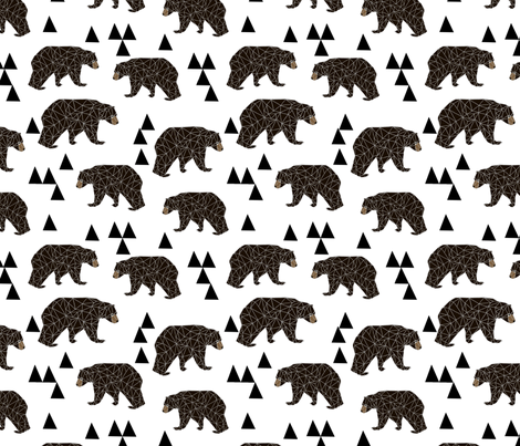 geometric bear // white trendy minimal cool scandinavian kids designs for trendy kids black and white design with triangles  fabric by andrea_lauren on Spoonflower - custom fabric